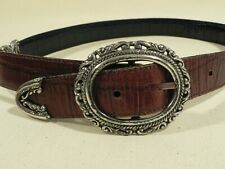 Women's brown black leather belt, reversable silver hardware swivel to mix color