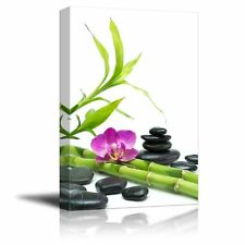"""Canvas Prints - Purple Orchid with Bamboo and Black Stones - 12"""" x 18"""""""