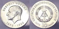 10 MARK 1973 BERTOLD BRECHT DEUTSCHE DEMOKRATISCHE REPUBLIK DDR SILVER #2320