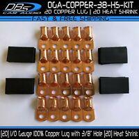 "20 1/0 Gauge 3/8"" Hole Copper Ring Terminal 0 Lug Battery Connector Heat Shrink"