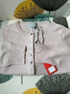 Pure Collection cashmere cropped round neck cardigan oyster size 12 bnwt