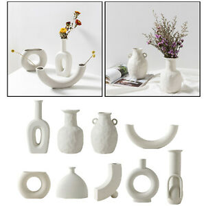 1pc Nordic Style Ceramic Vase White Decorative Flower Vase Art Home Decor Gifts