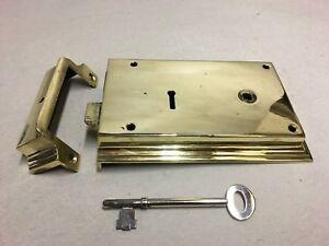 Original Regency Antique Brass Steel Door Rim Lock Box Key Keep Furniture AQ016