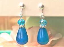 "FREE SHIP Deep Turquoise Blue Agate & Crystal CLIP ON Earrings 1.8"" Long Dangle"