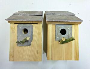 2 Bird House Nesting Boxes Welsh Slate 32 & 25mm Hole sparrow great tit bluetits