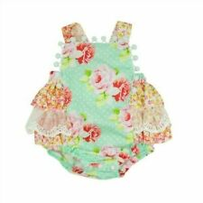 NWT Haute Baby Boutique Garden Isle Shabby Chic Lace Ruffle Sunsuit Bubble 12M