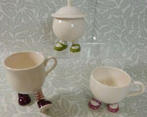 Collection of CARLTON WALKING WARE 2 Cups & Lidded Sugar Bowl