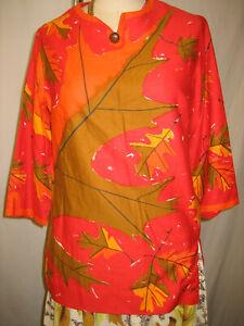 vtg Vera Neumann BOLD Cotton 50s 60s FALL LEAF Novelty Print Blouse Top Shirt S