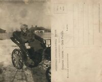 RUSSIA LADY IN CARRIAGE ANTIQUE REAL PHOTO POSTCARD RPPC