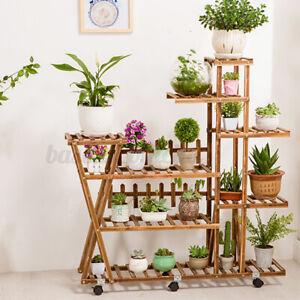 Wheel Wooden Multi Tier Plant Stand Flower Rack Shelf Bonsai Holder Home Decor