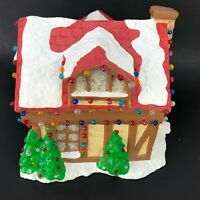 VTG Christmas Tree Tudor House Gingerbread Log Home Village Light Up Plaster