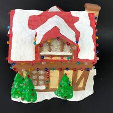 Vtg Christmas Tree Tudor House Gingerbread Log Home Village Light Up Plaster