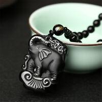 Obsidian Hand Geschnitzt Niedlichen Elefant Amulett Anhänger Perlen Halskette