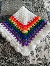 hand crochet baby blanket car seat    RAINBOW *NEW*