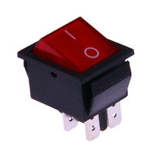 Interruttore a Bilanciere 230V Bipolare Luminoso On/Off 31x26mm Rosso Illuminato
