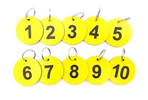 Circular Yellow, Key Rings, Key Fobs, Key Tags  Numbered 1 to 10 Large Size 53mm