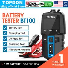 12V Auto Car Battery Tester Cranking Charging Alternator Test SOH 100-2000CCA US