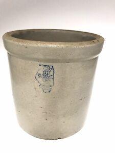antique white hall stoneware Crock Illinois Road map S P & S excellent Condition