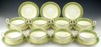 Vintage Minton England B1423 GUILDFORD GREEN CREAM SOUP 8 CUPS & 11 SAUCERS Set