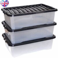 3 x 32L 32 Litre Large Plastic Storage Clear Box Strong Stackable Container