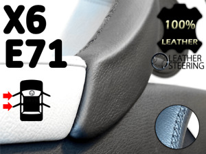 Passenger Door Handle BMW X6 E71 E72 Leather Cover - (Black Stitch, LEFT)