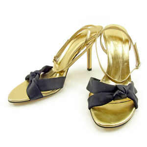 Kate Spade Flip Flops Black Gold Woman Authentic Used T3753