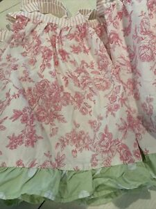 My Baby Sam Floral Curtain Valance W/ Ties~white, Pink & Green~~~B2