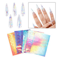 5Pcs Fire Flame Nail Tattoo Stickers Nail Holographic Strip Decals Adhesive Foil