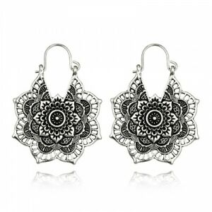 AU Seller Silver Plated Lotus Flower Antique Filigree Pendant Earrings Hippy