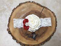 NEWBORN LACE HEADBAND FLOWER  IVORY RED 0180 CHRISTMAS GIFT BIRTHDAY PHOTO PROP