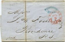 1853 STAMPLESS COVER: RED NY PAID 3 Cts, TO RI -  LARGE SUGAR ORDER. ...  k68d