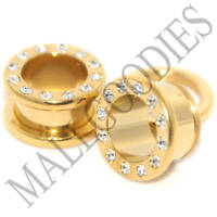 "V010 Steel Screw-on/fit Gold CZ Flesh Tunnels Ear Plugs 10G to 1"" Clear 2.5 25mm"