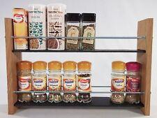Oak Slate Design Spice / Herb Rack 2 Tier, 16 Jar - Modern Contemporary Style