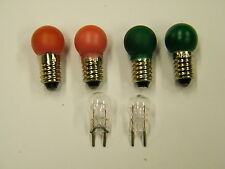 TWO # 432R RED TWO # 432G GREEN TWO # 19 TWO PIN CLEAR BULBS FOR 112 SWITCH