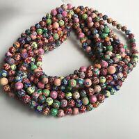 50X Polymer Clay Beads 8mm Round Handmade 39cm Strand Jewellery Making  Bead