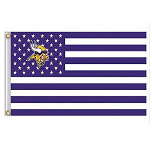 NFL Minnesota Vikings Stars and Stripes White Flag Banner 3X5 FT USA SHIPPING
