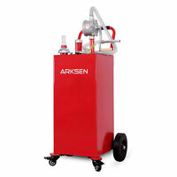 30 Gallon Portable Gas Caddy Fuel Storage Tank Large Gasoline Can W/Wheels, Red
