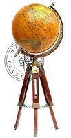 Vintage Messing Antik Weltkarte Tisch Stativ Globus Ornament mit Holzständer