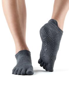 ToeSox Full Toe Low Rise Pilates Yoga Dance Barre Non Slip Grip Socks - Charcoal