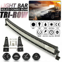 Tri-Row 32''inch Curved LED Work Light Bar Flood Spot Combo Offroad SUV ATV 4WD