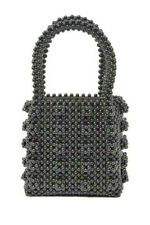 URBAN EXPRESSIONS Black Beaded Mini Tote Bag Top Handle NEW w TAGS was $150