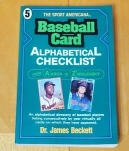 1992 BECKETT BASEBALL CARD ALPHABETICAL CHECKLIST - FOR ALL PLAYERS UP TO 1992