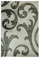 Hand Carved Elude Grey Modern Damask Wilton Rugs 200x290cm