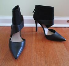 New Zara Trafaluc Black Faux Suede Leather Ankle Heel Cutout Booties Boots 6.5