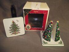 Spode Christmas Tree Set of 4 Coasters and Tree Shaped Coaster Holder w/ Box