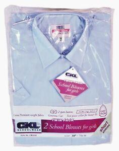 Sky Blue Pack of 2 Girls Short sleeved School Blouse Shirt Sky Blue Easy Care