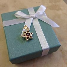 14K SOLID YELLOW GOLD Star Evil Eye Pendant - Good Luck Red Necklace Charm