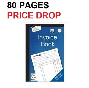 Full Size A5 Invoice Receipt Book Numbered Cash 1 - 80 Pages Pad bn