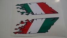 "Italian flag stickers 2X ""rip"" style laminated motorcycle decals Ducati Aprilia"