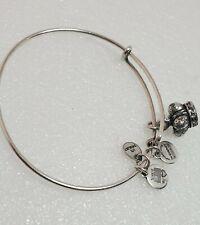 ALEX & ANI Silver tone 👑 King Queen Royal Crown Charm Bracelet Rhinestone Rare